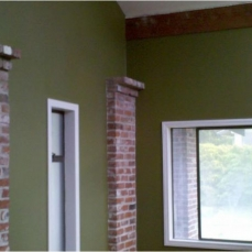 green interior accent wall