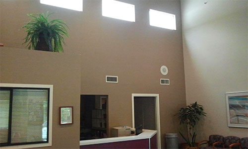 commercial painting, reception area